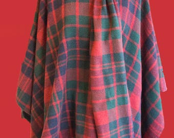 Vintage 1970's check wool cape
