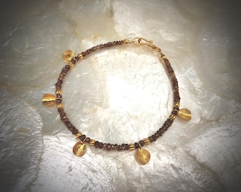 natural zircon gemstone bracelet with solid gold 18 karat 18k
