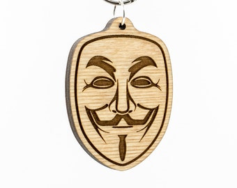 Anonymous Keychain - Guy Fawkes Mask Keychain - Anonymous Emoticon for Facebook Keyring - V for Vendetta Face Mask Carved Wood Charm