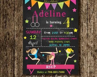 Gymnastics chalkboard invitation - birthday invitation - chalkboard invitation - gymnastics invitation - gymnastics invite