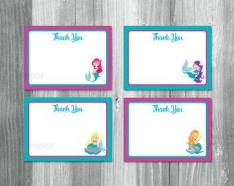 Mermaid Thank You Cards, Mermaid Thank You Notes, Mermaid Notecards, Mermaid Note Cards, Under the Sea Thank You Cards, Mermaid Thanks