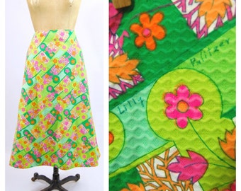 60s 70s Lilly Pulitzer Midi Skirt // 32 Waist // Bold Print Floral Cotton Midi Medium Large // 1970s Multicolored Colorful Flower Power