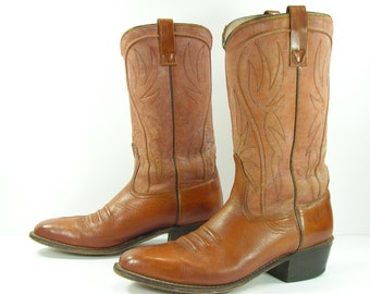 vintage acme cowboy boots mens 9.5 D brown leather western