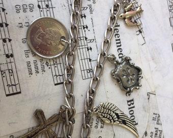 Cork, spoon & key charm necklace