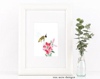 Watercolor Bee and Flowers Digital Print