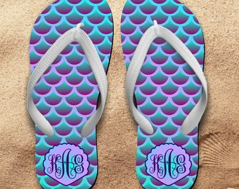 Mermaid Monogrammed Flip Flops/Monogrammed Flip Flops/Mermaid Monogrammed Summer Sandals/Mermaid Beach Flip Flops