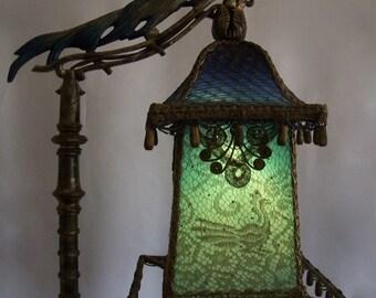 Magical Exotic Rembrandt Bird Lantern Floor Bridge Lamp Antique One Of A Kind Handmade