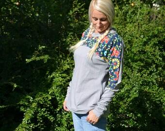 Longsleeve shirt sweater Pattern light grey GR 36