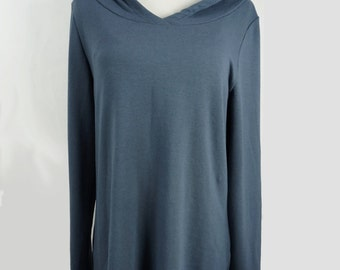 Women's bamboo tunic, dark grey ladies long sleeved loose fitting top, women's spring fashion, ready to ship