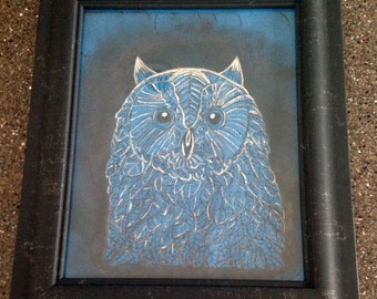 Hand Painted Owl On Blue Fabric with Frame
