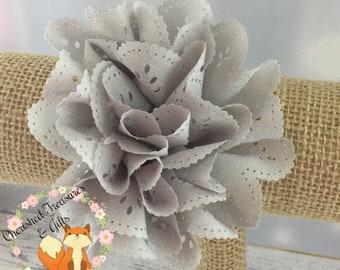 Grey Eyelet Flower Hair Clip