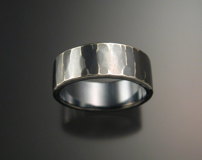 Sterling Silver Hammered finish 2mm x 8mm Rectangular Wedding band made to order in your size Oxidized wide silver Ring