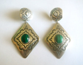 Vintage Navajo Big Sterling Silver Earrings Malachite SIGNED Albert Platero
