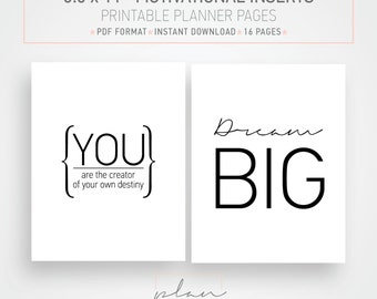Printable planner pages, 8.5 x 11, Suitable for Mambi Big Planner, Printable organizer, Motivational quotes, Daily motivation