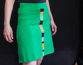Sporty skirt, a-line skirt, unique skirt, summer style, summer fashion, yoga skirt, fashion gift, upcycled clothing, sporty summer skirt