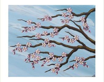 Pink Cherry Blossom Painting, Original Acrylic Painting on Canvas, Japanese Blossom Art, Blossom Tree Artwork, Blossom Design Wall Decor