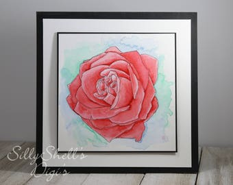 Water Colored Rose Hand Made card