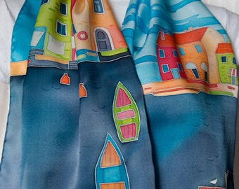 """Hand painted silk scarf. Colorfull scarf. Long scarf. """"Boats"""""""