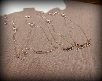 Slide bracelet, sterling silver heart bracelet, xoxo bracelet, loved bracelet, arrow bracelet