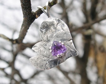Amethyst Broken Heart Adoption Pendant in .999 fine silver & Sterling Silver (February birthstone)