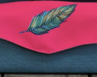 Watercolor Feather Wallet Clutch