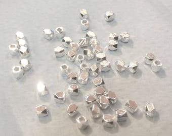 50 faceted beads silver-plated 2.60 mm for jewelry designs