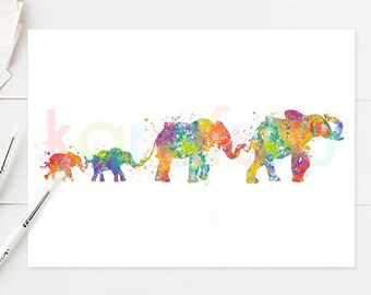 Elephant Family Watercolor Art - Baby Elephant Watercolor Print - Baby Elephant Watercolor Poster - House Warming Gift - A35