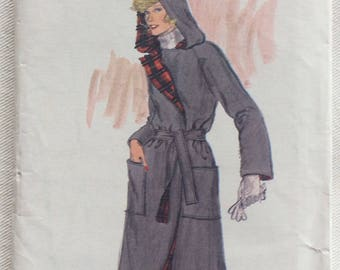 Vogue Pattern 9312 - Raglan Sleeve Wrap Jacket or Coat w/Self-belt, Hood and Patch Pockets - Size 8 - UNCUT