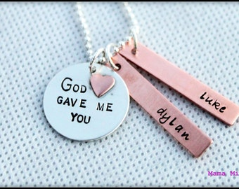 God Gave Me You Necklace, God Gave Me You Hand Stamped Necklace, Christian Jewelry, Mommy Necklace, Birthdate Necklace, Mixed Metal Necklace