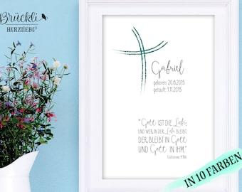 Art a4 impression / murale / affiche / cadeau / communion/confirmation / cadeau de naissance / cadeau à la naissance