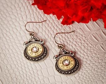 Bullet Casing Jewelry - Victorian Bullet Casing / Shell Earrings (45 Auto)