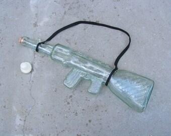 Unique glass bottle Vintage bottle rifle Art glass bottle of wine AK-47 Kalashnikov bottle Bottle alcohol Collectible bottle Kitchen decor