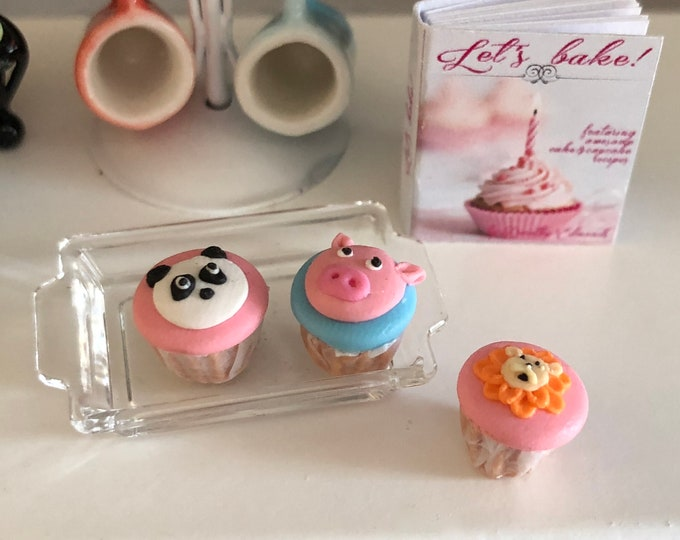 Featured listing image: Miniature Cupcakes, Animal Cupcakes, Style 2, Set of 3, Panda, Pig and Tiger Cupcakes, Dollhouse Miniatures, 1:12 Scale, Dollhouse Food