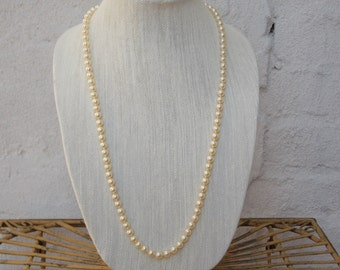 Long Vintage Pearl Necklace, 1950's, Superior Quality Faux Pearls