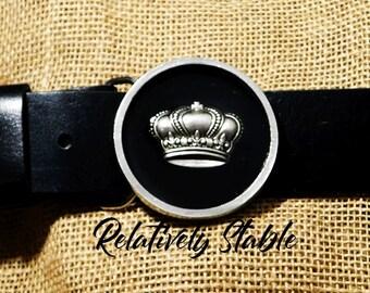 Fit For a Queen belt buckle, dressage belt, preppy belt buckle, Crown belt buckle for snap belts, horse show belt