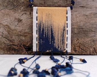Textile jewel, amulet necklace, canvas painted with gold and blue acrylic, original, amulet, hand-sewn, lapis lazuli, unique piece