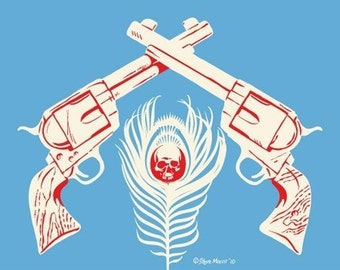 Old West Pistols Print, Skull and Peacock Feather, Death - 5x7 giclee print