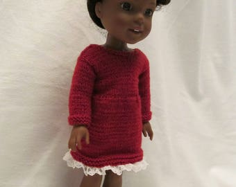 Hand Knit Russet Colored Dress to fit 14 1/2'' Wellie Wishers and  14'' Hearts for Hearts Dolls , Great for School ,Church, Parties and Fall
