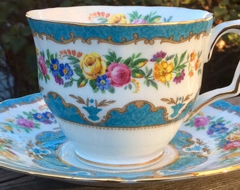 Pretty In Pink-Crown Staffordshire Teacup and Saucer