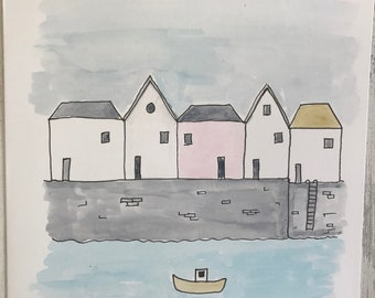 harbour , blank hand painted card.
