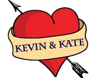 Wedding Temporary Tattoos, Wedding Heart Tattoo, Bride & Groom Tattoo, Wedding Favors, Custom Personalized Tattoos, Washable Tattoos