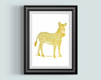 Nursery Wall Art Zebra Print, Safari Nursery Art, Gold Prints, Safari Theme, Gold Wall Decor, African Animal Print, Zebra Stripes, Rose Gold
