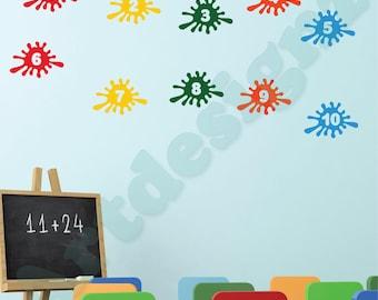 PAINT SPLATS Numbers 1 to 10 Learning Educational Girls Boys Childrens Bedroom Playroom Nursery Vinyl Wall Art Sticker Decal Transfer