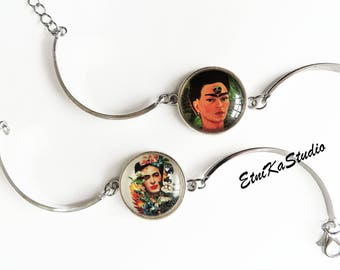 Frida Kahlo portrait BRACELET adjustable round glass cabochon, silver tone