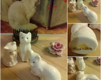 Vintage Fabrique A Taiwan White Cats Kittens Ceramic