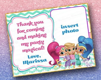 SET OF 12 Nick jr.'s Shimmer and Shine Thank you cards} Envelopes included} A2 flat card} printed for you by me