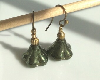 Dark Green Glass Earrings  Czech Glass Flower Earrings  Boho Earrings  Small Dangle Earrings  Brass Earrings  Gypsy Dangles