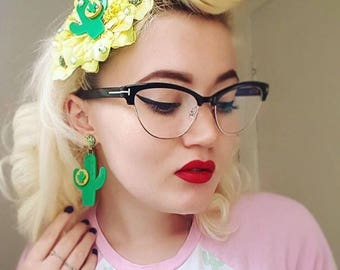 Cactus Sunset Paradise Hair Flower - Green/Gold - Rockabilly - 1950s - Pinup - Retro