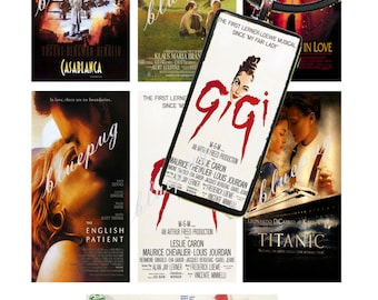 """7 Classic Movies Mix Domino Images 1""""x2""""  Photo Quality 4x6 Sheet Digtal Download Printable"""
