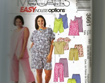 McCall's Women's Tops, Tunic, Pull-On Pants and Shorts Pattern 3661